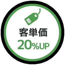 客単価 20%UP